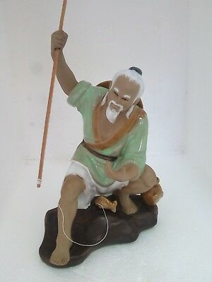 Large Chinese Shiwan Mud Man Fisherman Figure Hand Painted Glazed Pottery Statue