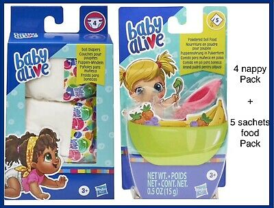 Baby Alive  5 sachet powdered Doll Food Refil plus 4 Nappies Pack