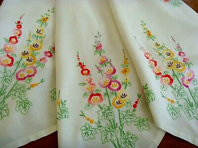 Vintage Hand Embroidered Large Linen Tablecloth ~ Beautiful Hollyhocks Garden