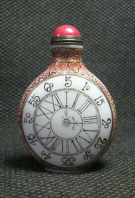 Chinese Glass Delicate Hand Painted Clocks And Watches Snuff Bottle///===