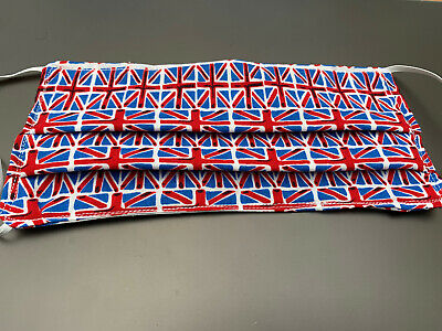 Hand made Face Mask in Cotton with metal nose piece 8X6 elastic loops Union Jack