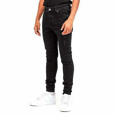 Kings Will Dream Junior Luxmor Superslim Stretch Black Wash Ripped Jeans J444