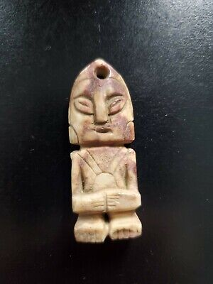 Ancient stone pеndant Alien figurine with unknow symbols from Ojuelos de Jalisco