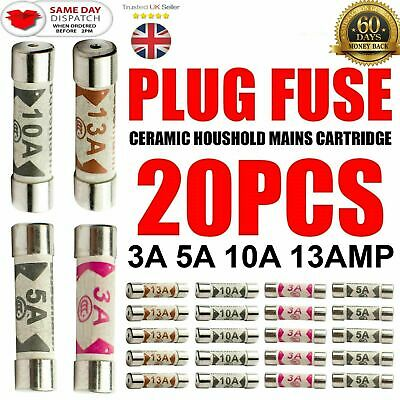 20 x Mixed Ceramic Household Domestic Fuses Mains Electrical Cartridge Plug