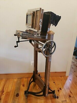 Vintage Antique Large Format Gemini Camera with Mechanical Rolling Stand