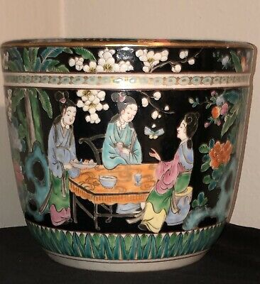 Beautiful Antique Signed Chinese Hand Painted Famille Noir Planter