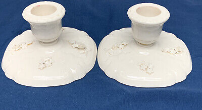 Antique PLAUE SCHIERHOLZ ? Candlestick Holders Floral White