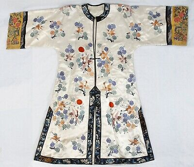 """Antique Chinese Qing Silk Embroidered 41"""" Robe Kimono Cranes Butterfly Bats"""