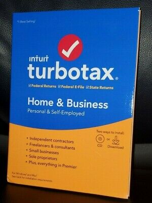 Turbotax Home & Business 2019 Fed&/State Tax Cd/Download- Brand New Sealed Box!
