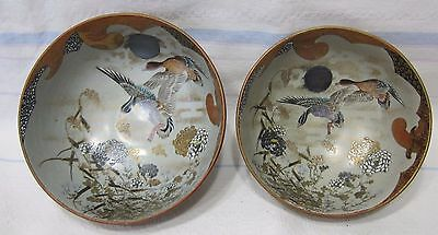 Antique Japanese Kutani hand decorated bowls. Goose, flowers and moon.