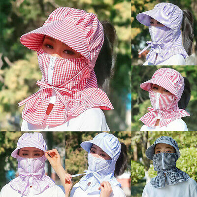Women Dustproof Sun Protection Full Face Neck Cover Summer Riding Hat Cap Great