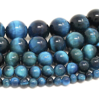 "Blue Green Tiger Eye Beads Round 4mm 6mm 8mm 10mm 12mm 15.5"" Strand"