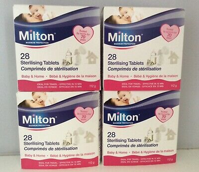 4x Milton Sterilising Tablets Pack 4x28 Tablets Steriliser for Cold Water