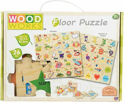 Wood Works Alphabet Childrens Learning Puzzle Kids Teaching Wooden Jigsaw Toys