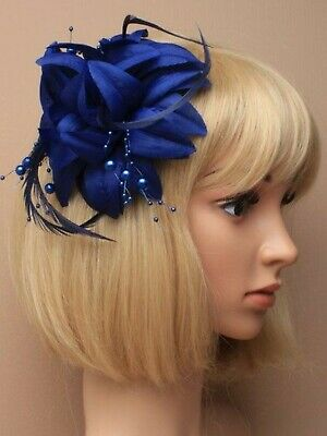 Navy Blue Beaded Feather Fascinator Clip Brooch Pin Hat Races Wedding Ascot UK