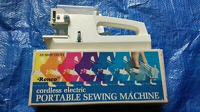 Vintage Retro  Ronco Cordless Electric Portable Sewing machine.  Boxed Working.