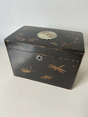 Antique Chinese Lacquered Tea Caddy Storage Box Case