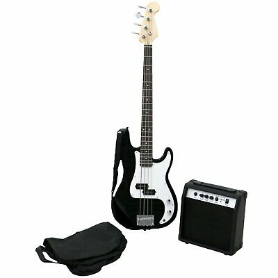 PB Precision Style 4 String Electric Bass Guitar With 15W Amp Guitars Black New