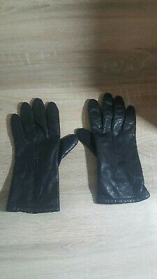 New FOWNES Genuine Leather Ladies Womens Black Driving Lined Gloves Sz 8 VINTAGE