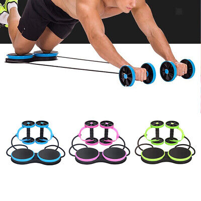 Ab Roller Dual Wheel Pull Rope Abdominal Slimming Fitness Equipment Trainer Gear
