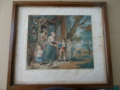 Incisione Colorata-Stipple Engraving-Going To School-Spitsbury-Turner-Orme-1802