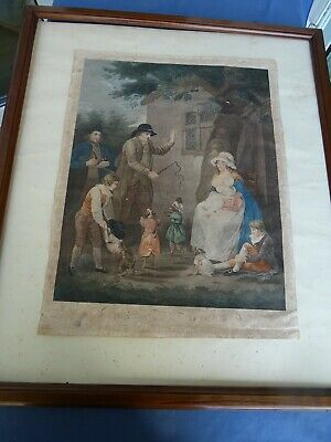 Incisione Colorata-Stipple Engraving-Dancing Dogs-G.morland-J.p. Levilly-London