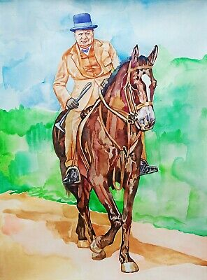 "11.69 × 15.75"" Winston Churchill ~on a horse~ watercolor SIGNED and DATED"