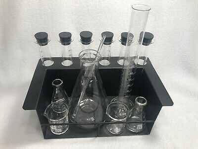 Chemistry BARWARE SET with Black Metal Rack Beaker Flask Grad Cylinder Test Tube