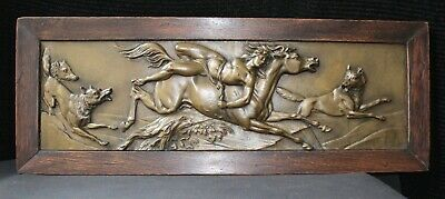 Antique Mazeppa & The Wolves, Fairy Tale Story,  Large Bronze Oak Framed Plaque