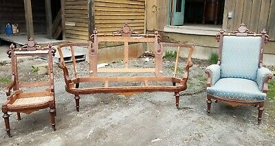 Great 3 Piece Renaissance Revival Walnut Couch Chair Parlor Set