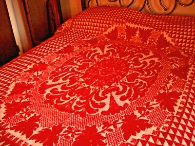 Woven Coverlet Red & White- 1857 Allentown Pa C. Wiand