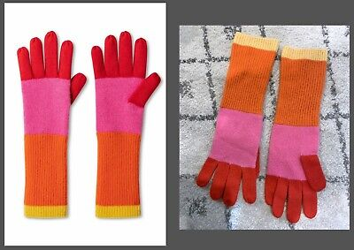 ISAAC MIZRAHI for Target Women's Colorblock Gloves Pink/Orange Cashmere One Size