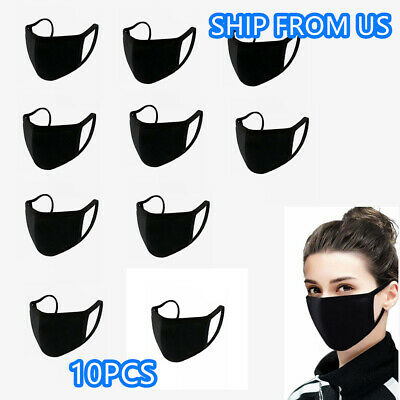 Pack of 10 Face Mask Washable Cotton Black Layers Reusable Unisex Ship From USA
