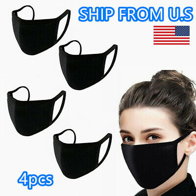 Pack of 4 Face Mask Washable Cotton Black Layers Reusable Unisex Ship From USA
