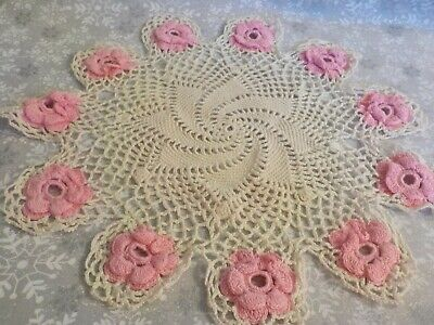 Vintage Hand Crocheted Doily -- White With Pink Flowers