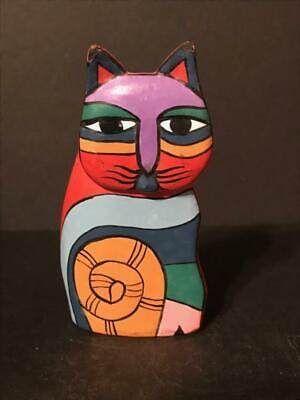 Handpainted Wooden Cat Figurine High Color 1991