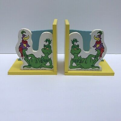 VINTAGE Dr. Seuss The Grinch Wooden Bookends Bright Colors Minimal Wear, Henson