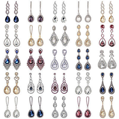 Pierced Diamante Crystal Drop Earrings Dangle Earrings Clear Blue Red Silver