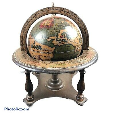 Vintage Astrology Zodiac Signs Table Top Wooden Globe(A21)