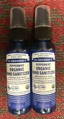 Dr. Bronner's Organic Peppermint Hand Cleaning Spray 2 Bottles 2 oz ea. Exp 3/23