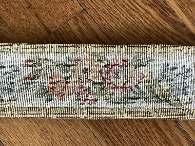 Vintage CORONA DECOR CO Wall Tapestry Bell Pull Hanging Textile w/ Brass Ends