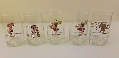 Collection of 5 Glass Cups Arby's B.C. Ice Age 1981 plus bonus cup