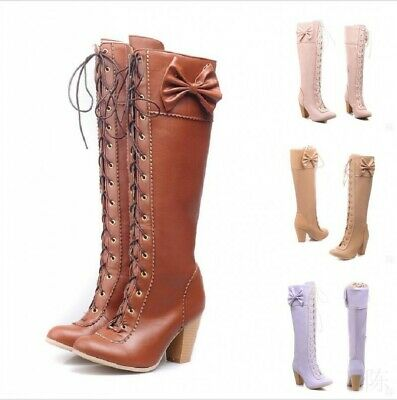 Sweet Ladies Girls Bow Lacing Knee High Boots Shoes Cosplay Party Princess Trend