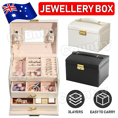 Large Jewellery Box Jewelry Girls Rings Storage Organiser Lock Case With Mirror