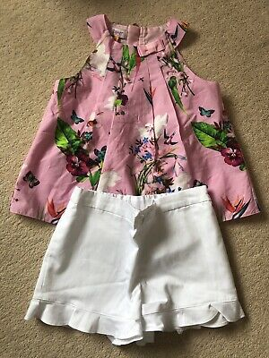 Ted Baker Girls Pink Top And White Shorts Set Age 5-6