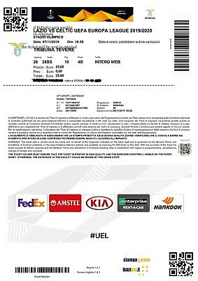 Ticket Biglietto Europa League 2019/2020 Lazio Celtic In Pdf