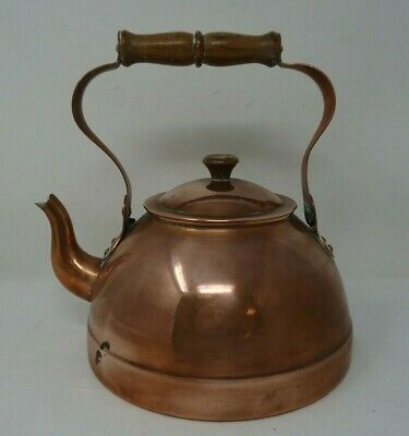 Vintage Argy Europe French Copper Kettle with Wooden Handle   (F3)