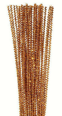 """Pack of 25 12"""" Pipe Cleaners / Tinsel Stems - Gold"""