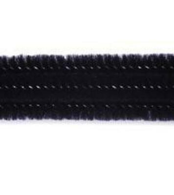 """Pack of 25 12"""" Pipe Cleaners / Chenille Stems - Black"""