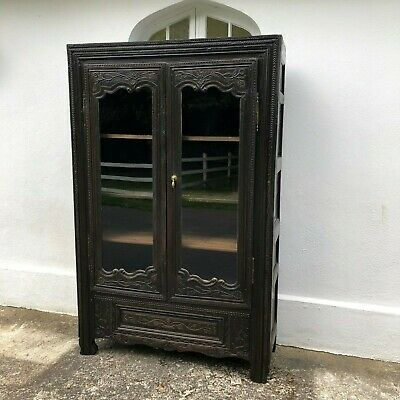 Antique 18th C French Carved Oak Display Cabinet Bookcase Linen Press Cupboard
